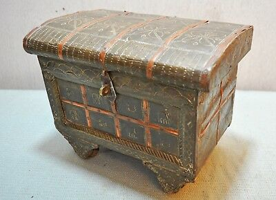 Original Old Vintage Hand Crafted Brass Decorated Wooden Jewellery Box