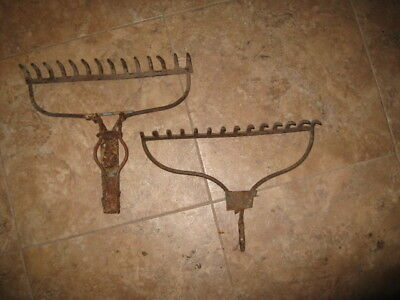 2 Vintage Garden Rake Head Iron Farm Decor