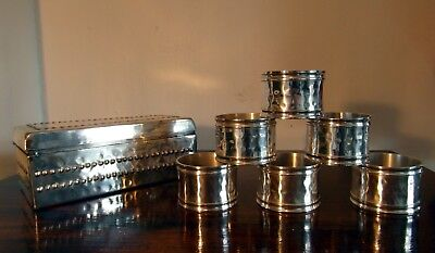 Stunning Vintage Plated Boxed Set Of 6 Napkin Rings - Hammered