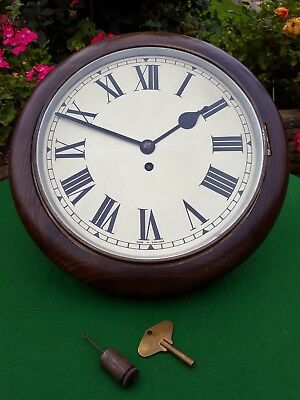 #051 Antique Mahogany Smiths Empire Station/office Wall Clock 8-Day Movement