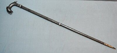 Original Old Vintage Hand Crafted Fine Silver Leaf Painted Iron Walking stick
