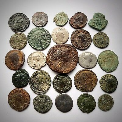 25 Very nice Roman bronze and silver coins.