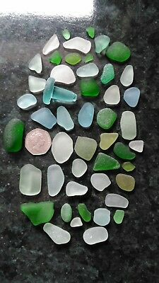 Sea glass seawashed on the beach at Whitby.  In stunning shades of blue & green