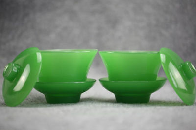 A Pair Chinese Exquisite Beyond Compar Delicate Jade Teacup