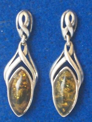 A Pair of Vintage Art Nuvo Style Sterling Silver 925 Amber Set Dangle Earrings