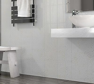 Bathroom Wet Wall Wet Room Fully Waterproof Wet Wall Panels for Kitchen 18 The Cladding Store White Sparkle 250mm Wide Wall Cladding Shower 250mm Wide x 2.6m Long x 5mm Deep Shower Panels
