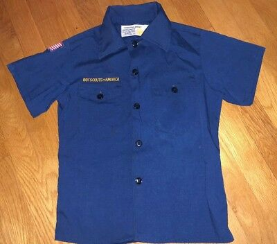 Official Boy Scouts Of America Uniform Shirt Youth Navy Blue Flag Patch Size 10