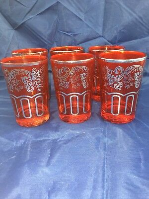 SET OF SIX *ROYAL FRANCE DESIGN *VINTAGE *RUBY RED GLASSES With SILVER GILT.