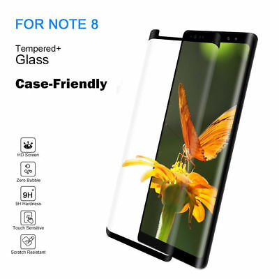 5D Tempered Glass Screen Protector For Samsung Galaxy Note 8 Black Case Friendly