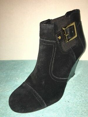 778ec7c34cd TORY BURCH HALIMA Booties Brown Suede Leather Platform Ankle Boots 8 ...