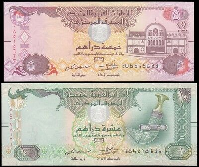 UNITED ARAB EMIRATES / UAE, 5 + 10 Dirhams 2015 UNC P-26 27, Set 2 Banknotes