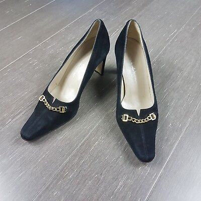 Warwick Dawson Black Suede Leather Heels Shoes Gold Chain RRP$180 Sz 36.5 6.5-7