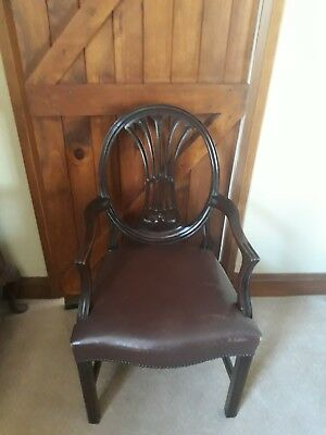 Antique Desk Chair Mahogany With Leather Seat