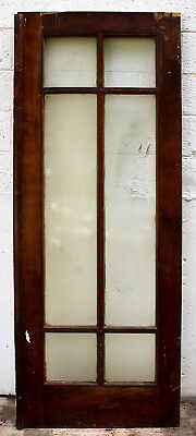 "30""x79 Antique Vintage Wood Wooden Exterior Entry Door Window Beveled Glass Lite"