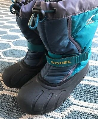Sorel Lined Waterproof Winter Snow Boots Kids Teal Turquoise Girls US Size 2 EUC