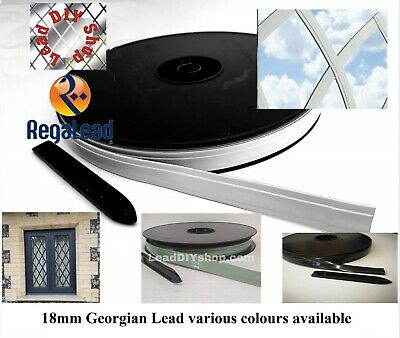 18mm Self adhesive lead strip tape glass Windows crafts white grey geo Reaglead