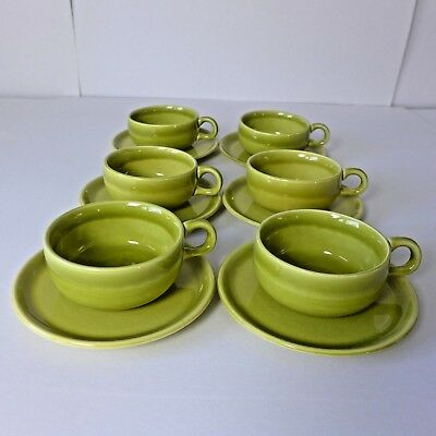 Russel Wright Steubenville Chartreuse Cups Saucers 6 Sets American Mid Century