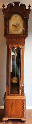 Chippendale  Mahogany Carved  tubular longcase regulator clock