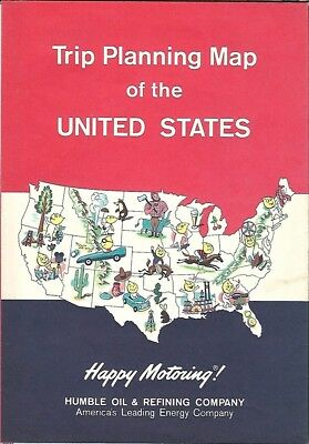 1962 HUMBLE OIL Pictorial Map UNITED STATES Toll Roads Interstate Highways Happy