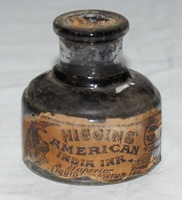Antique Labeled And Embossed 1 Oz. Higgins American India Ink Bottle