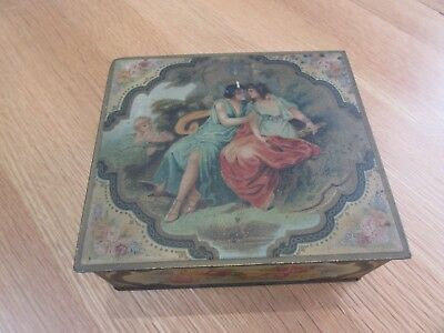 Lovely Antique Vintage  Tin Box ~ Rare Double Lid