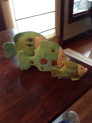Lot Of 3 Hand Painted Folk Art Fish Wooden