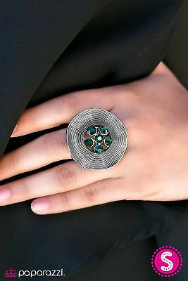 "Paparazzi ""Misfit""-  Antique Silver With Green Rhinestone Flower Center Ring"