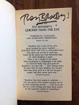 Ray Bradbury SIGNED Quicker Than The Eye Stories Autograph Science Fiction