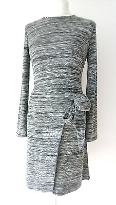 Whistles * Size 8 Ladies Striped Marl Faux Wrap Jersey Dress In Grey Black White