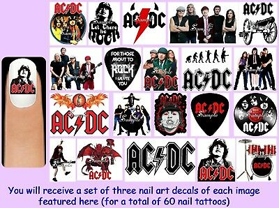 60x AC/DC Nail Art Decals + Free Gems ACDC Ac Dc Rock Band Acca Dacca Malcolm