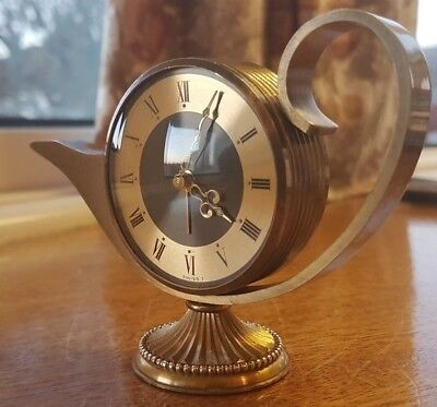 Swiza 8 Genie Aladdin Lamp Carriage Clock Swiss Made 1960's Rare Antique