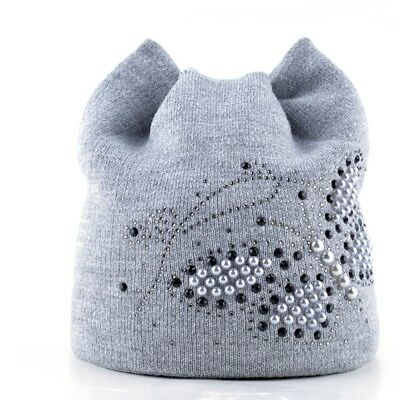 AKIZON Knitted Women Cat Beanie Hat Decorated With Pearls Butterfly