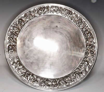 "Antique S Kirk & Son Repousse Solid Sterling Silver Large 12"" Serving Tray"