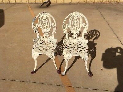 Antique Cast Iron Victorian Patio Chair Set  French Regency Neoclassical Style