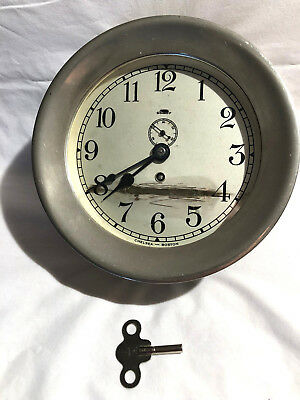 Vtg Us Marine Corps Chelsea Boston Mechanical Deck Clock Silver Dial/case- Rare