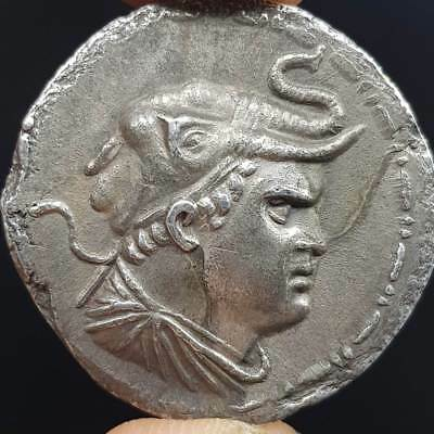 Ancient Bactria Empire Silver Beautiful Unique king Coin    #6J