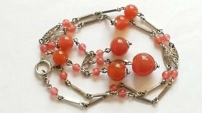 Czech Vintage Art Deco Wired Glass Bead Necklace