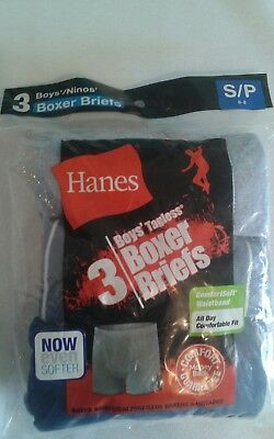 New HANES 3-pack 14 Boy's  Tagless Boxer Briefs . Size S/P 6-8