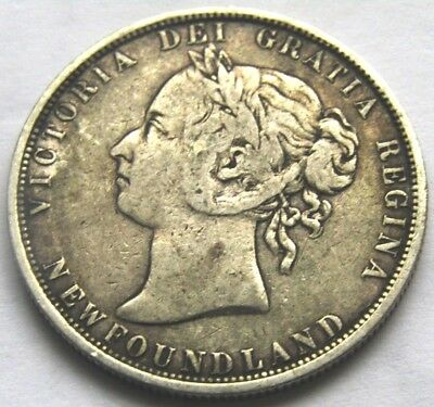 1882H Fifty Cents Newfoundland Silver Coins Queen Victoria