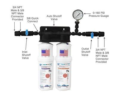 Double / Twin Filter Food Service / Ice Machine Water Filter System  USA MADE