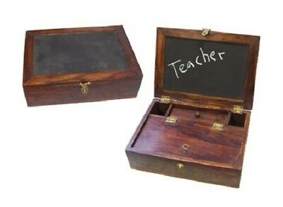 Antique Style Wood Colonial Folding Lap Writing Desk Inkwell Holder Slate Box