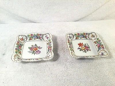 Vintage SCHUMANN BAVARIA Small Square Trinket Dish Floral Pattern Lot of 2