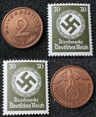 2 Reichspfennig 1937 A - WWII German coin + extra stamp with swastika - #7639