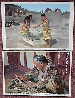 2x Maori Cooking + Carving Vintage Photographic Postcard PC Rotorua New Zealand