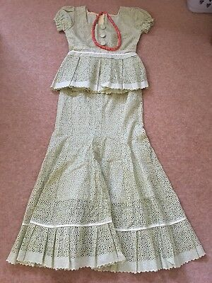 Authentic traditional lace Nigerian dress, pale green, size small/medium