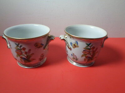 Vintage Pair of Herend Hand Painted Queen Victorian Cachepots  (4 by 5.5 by 4.5""