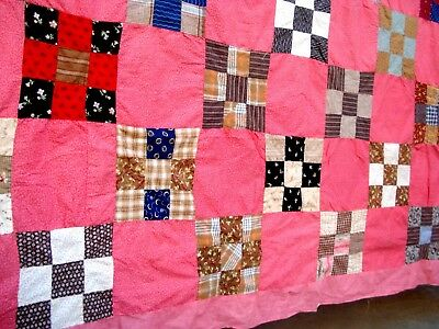 Antique Victorian Vtg Late 1800's NIne Patch QUILT TOP calico double pink