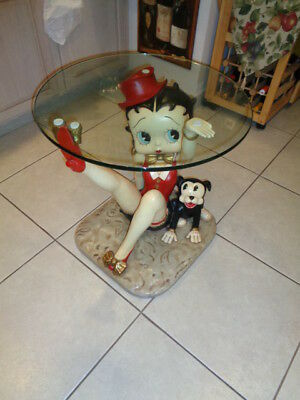 """Ultra Rare Original Betty Boop Table With Her 2 Dogs (23 by 24 by 24"""")"""