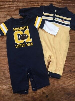 Carters 6 Mo Infant Boy One Piece Outfit Lot Long Sleeve