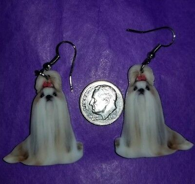 Shih Tzu Dog  lightweight fun earrings  jewelry FREE SHIPPING! Design 1 of 2